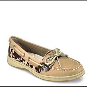 Sperry Angelfish linen leopard pony boat shoe